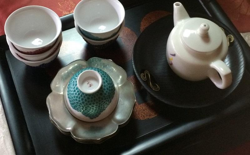 花形錫製茶托