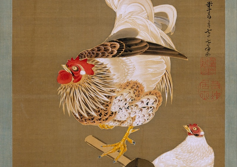 葡萄双鶏図(伊藤若沖筆)